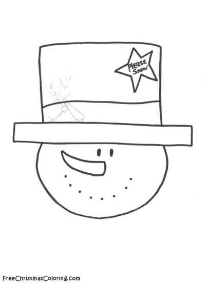 Snowman Coloring Page - Love My Top Hat Snowman